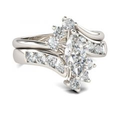 Jeulia Bypass Marquise Cut Sterling Silver Ring Set
