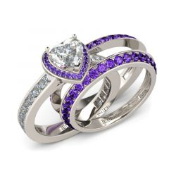 Jeulia 3PC Halo Heart Cut Sterling Silver Ring Set