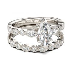 Jeulia Marquise Cut Vintage Sterling Silver Ring Set