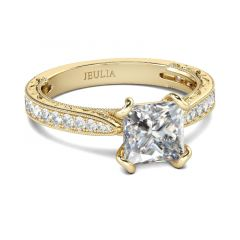 Jeulia Gold Tone Milgrain Princess Cut Sterling Silver Ring