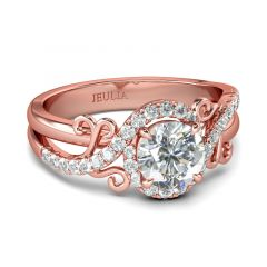 Jeulia Floral Design Round Cut Sterling Silver Ring