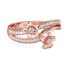 Jeulia Rose Gold Tone Flower Round Cut Sterling Silver Ring