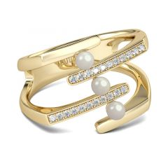 Jeulia Gold Tone Faux Pearl Sterling Silver Ring