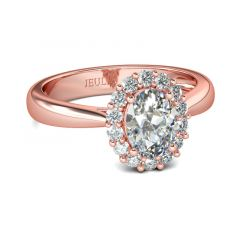 Jeulia Rose Gold Halo Oval Cut Sterling Silver Ring