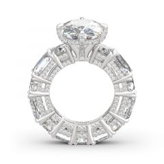 Jeulia Cushion Cut Three Sided Pave Sterling Silver Eternity Ring