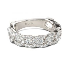 Jeulia Interlock Round Cut Sterling Silver Women's Band