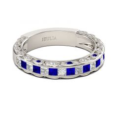 Jeulia Classic Princess Cut Sterling Silver Women's Band
