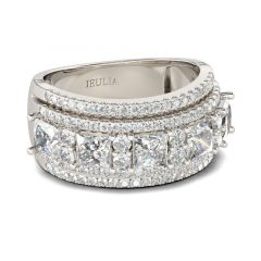 Jeulia Wide Princess Cut Sterling Silver Women's Band