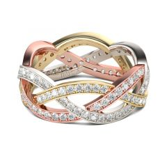 Jeulia Tri-Tone Intertwined Sterling Silver Women's Band