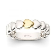 Jeulia Two Tone Heart Shape Sterling Silver Women's Band