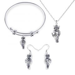 Jeulia Cute Owlet With Stars Sterling Silver Jewelry Set