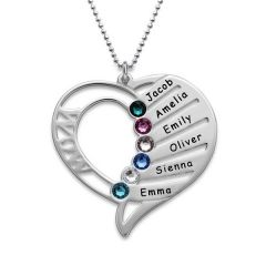 Jeulia Engraved Heart Necklace With Birthstones Sterling Silver